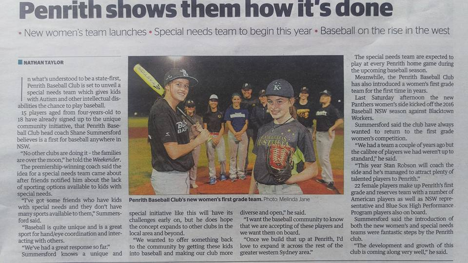 Penrith Baseball on the rise